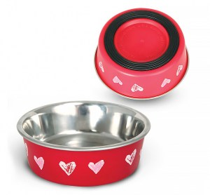 "Metal bowl with elastic band ""Hearts"""